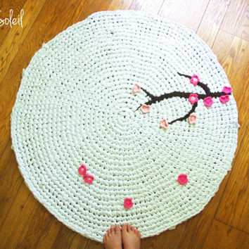 Crochet Rug Cherry Tree White Cotton Ombre Pink Flower Appliques and Alpaca Wool Branch as featured in Etsy Kids and Inside Crochet Magazine