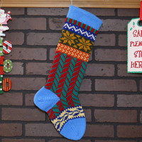 Blue Christmas Stocking, Hand Knit with Herringbone Pattern in Red and Green with Snowflakes, Fair Isle Knit, Can Personalize, Gift Idea