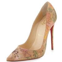 Christian Louboutin So Kate Blooming-Cork 120mm Red Sole Pump, Multi Colors