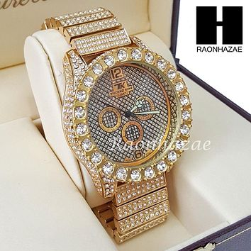 Men's Hip Hop Iced Out 14K Gold PT Bling Lab Diamond Techno King Rapper Watch L6