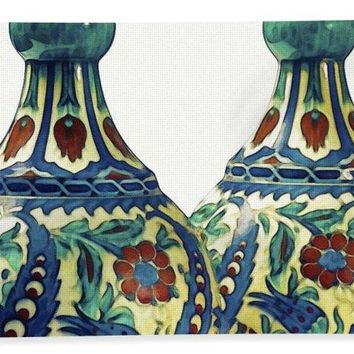 An Ottoman Iznik Style Floral Design Pottery Polychrome, By Adam Asar, No 21a - Bath Towel