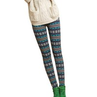 New Womens/girls Nordic Snow Knitted Warm Leggings Tights Pants (C)