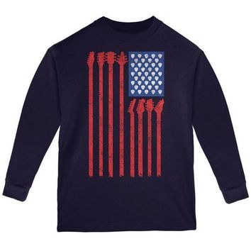 PEAPGQ9 4th Of July Stars and Strings Guitar American Flag Youth Long Sleeve T Shirt