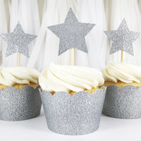 Silver Glitter Star Cupcake Toppers - 12 Large - Party Supplies // Wedding Decorations // Birthday Party