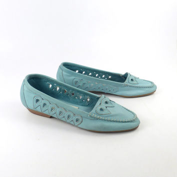 Leather Flats Shoes Vintage 1980s Blue LJ Simone size 7