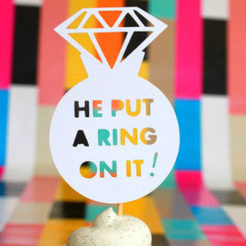 20 WHITE He Put A Ring On It diamond jewel engagement cupcake topper food pick for bachelorette bridal shower or engagement party