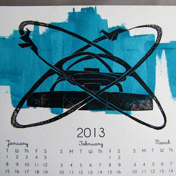 2013 Wall Calendar, LAX Jet Theme Building in Cyan