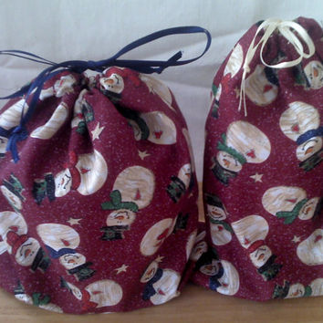 2 Fabric Gift Bags Snowmen  Upcycled Reusable