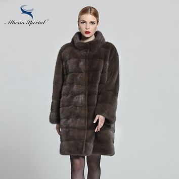 Athena Special 2018 Fashion women real mink fur coat natural, sable color women's mink coat, russian winter whole fur parka