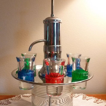 Vintage Liquor Decanter With Glasses Set 1950s Barware Ribbed Glass Celluloid Chrome Pump