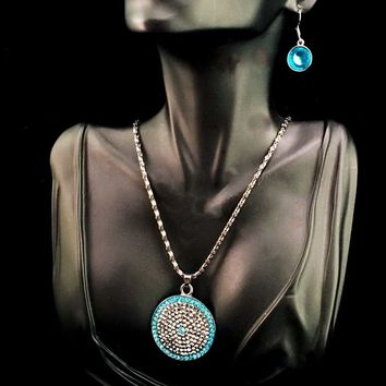 Crystal and Hematite Medallion Necklace & Earrings Set