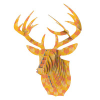 "Apple Kaur Designs ""Wild Summer Dandelions"" Gold Circles Bucky Deer Bust Jr."