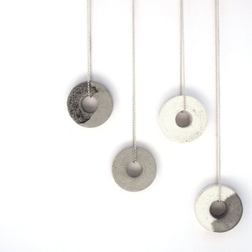 Beautiful Silver necklace, with two unique handmade gray and white concrete pendants, hangs on delicate 925 silver necklace.