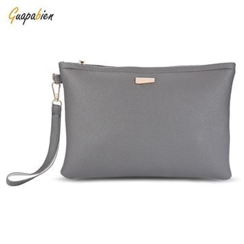 Guapabien Large Solid Color Rectangle Style Women Clutch Bag Clutch Bag PU Leather Envelope Bag Female Evening Handbag Wristlet