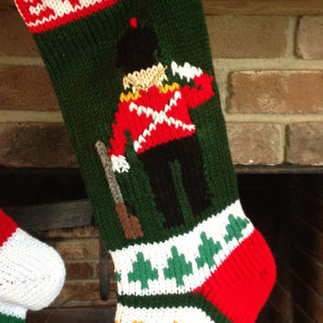 Hand Knitted Christmas Stockings with Snowman,Christmas Tree or Toy Solider