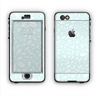 The Light Teal Blue & White Floral Sprout Apple iPhone 6 Plus LifeProof Nuud Case Skin Set