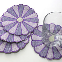 Purple Dresden Plate, Embroidered, Coasters, Trivets, Mug Mats