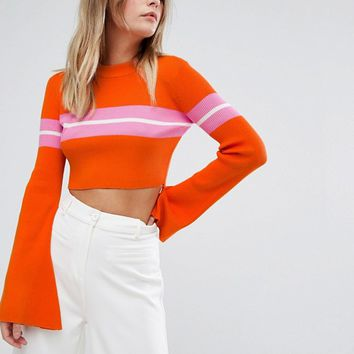 Missguided Flare Sleeve Stripe Cropped Jumper at asos.com