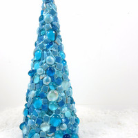 SALE--Mosaic Christmas/Holiday tree, turquoise blue, tabletop holiday decor TAGT