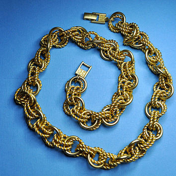 GIVENCHY Vintage Chunky, Satin Gold and Gold Rope Links Chain Necklace, Big, Bold, Runway! #A793