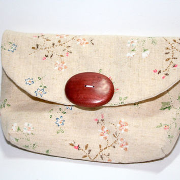 Small Cotton Clutch, Cell Phone Cozy, Japanese Linen, Beige, Floral, The Cameran Clutch