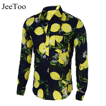 Mens Shirts Hot 2016 Fashion Long Sleeve Print Floral Shirt Men Slim Fit Shirts Men's Casual Hawaiian Shirt Camisa Masculina