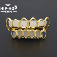 Gold Color Hip Hop Teeth Grillz Hollow Top & Bottom Fangs Bottom Grillz Set Vampire Grills Sets Drop shipping