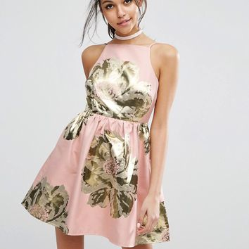 ASOS Pinny Jacquard Mini Prom Dress at asos.com
