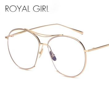 ROYAL GIRL Women Fashion Round Twin-Beams Sunglasses Wire Half Frame Vintage Women Brand Designer SS063