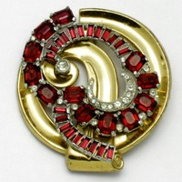 McClelland Barclay Ruby Rhinestone Brooch 1940s