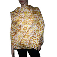 yellow multi-color Aztec print Bamboo scarf