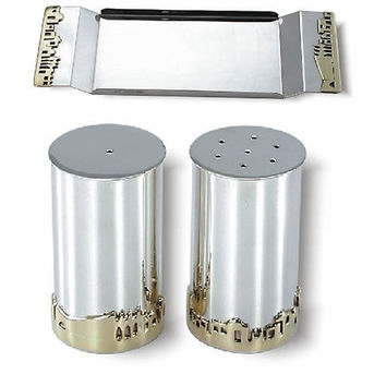Silver Salt & Pepper Shakers with Tray