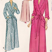 1950s Misses Housecoat, Scalloped Collar and Patch Pockets, Vintage Sewing Pattern, McCall 8308 bust 30""