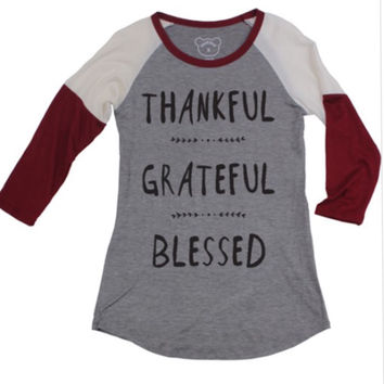 Thankful Grateful Blessed Baseball Tee (Red)