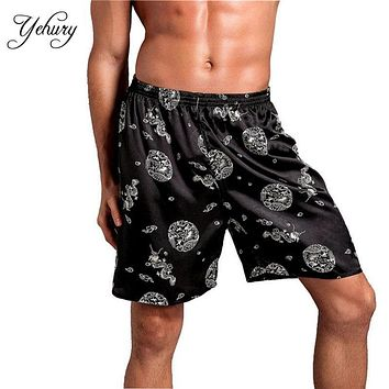 Traditional Culture Printed Thin Polyester Relaxed Stretch Waist Casul Sleep Wear Men Short Pajama Pants Summer Beach Pants