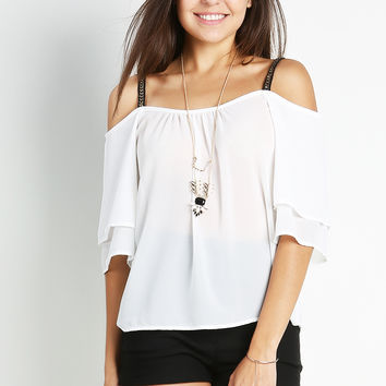 Off-Shoulder Chiffon Top