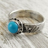 Paisley Turquoise Gemstone Ring Fine Silver Metal Clay Ring