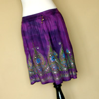 Purple Tie Dye Mini Skirt: Short Boho Indian Gypsy Skirt, Flowy Bohemain Sequined Skirt, Cover Up