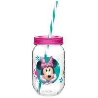 Zak! Designs® Minnie Mouse 19-Ounce Tritan Canning Jar Tumbler with Straw