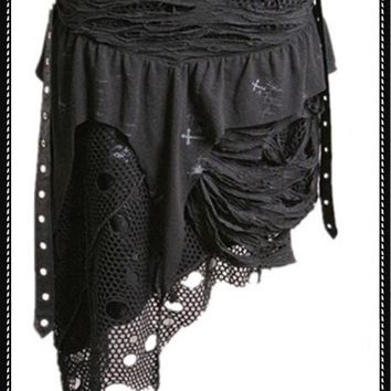 Uneven length meshed skirt