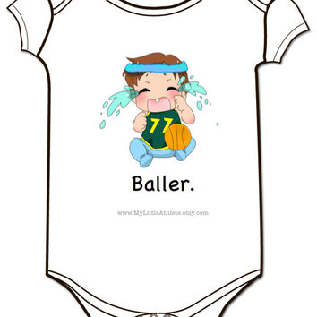 Baller Basketball Onesuit - Baby Clothing - Bball Baby Clothes - Baller - Baby Boys and Baby Girls