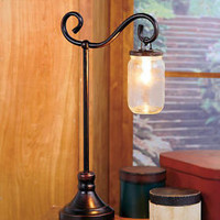 Mason Jar Table Lamp Distressed Bronze-Toned Metal Country Rustic Home Decor