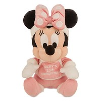 "disney parks pink minnie mouse my first christmas 9"" plush new with tags"