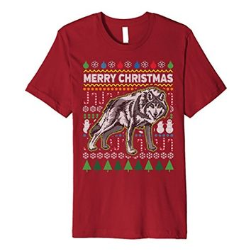 Wolf Ugly Holiday Premium T-shirt - Merry Christmas