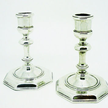 Pair Silver Candlesticks, Sterling, NOT Weighted, Vintage, Hallmarked London 1967, Very Heavy, English, REF:256U