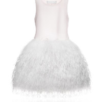 BABY DIOR Couture powder pink satin dress  with white feathers