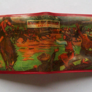 Vintage Child's Rodeo Cowboy Wallet - Vinyl Red, Yellow - Western Scene - Toy - Old - Coin Purse