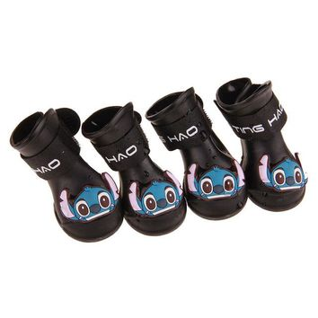 4Pcs/pack Dog Shoes  Waterproof Rain Pet Shoes for Dog Puppy Rubber Boots  Portable Durable Kitty Shoes Anti Slip Cat Shoes