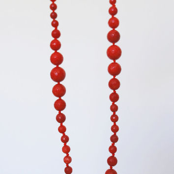 Gorgeous real coral necklace, extra long red gemstone necklace, artisan necklace