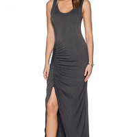 Grey Sleeveless Hem Maxi Dress